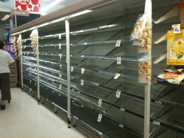 Bare supermarket shelves