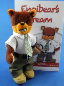 Engibear in 3D along with the book cover.