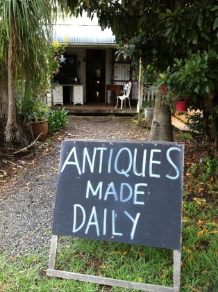 "Sign that says ""Antiques Made Daily"""